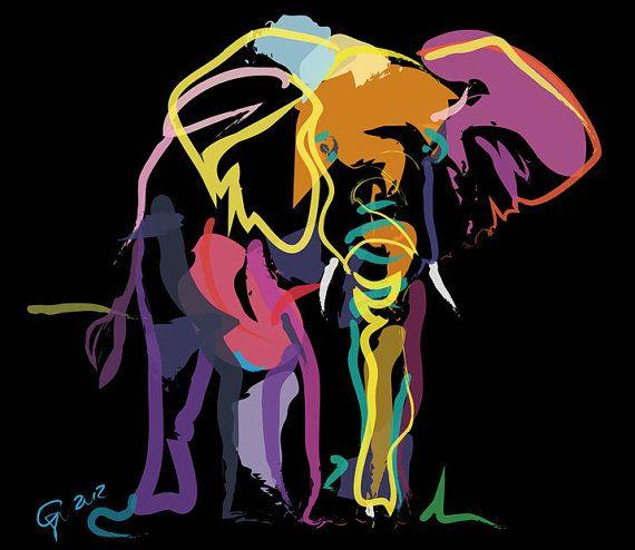 Olifant, Elephant in colour,wild, wilde dieren, wilde dieren kunst, het wild schilderen, het wild kunst , dier, dieren schilderijen , dierli...