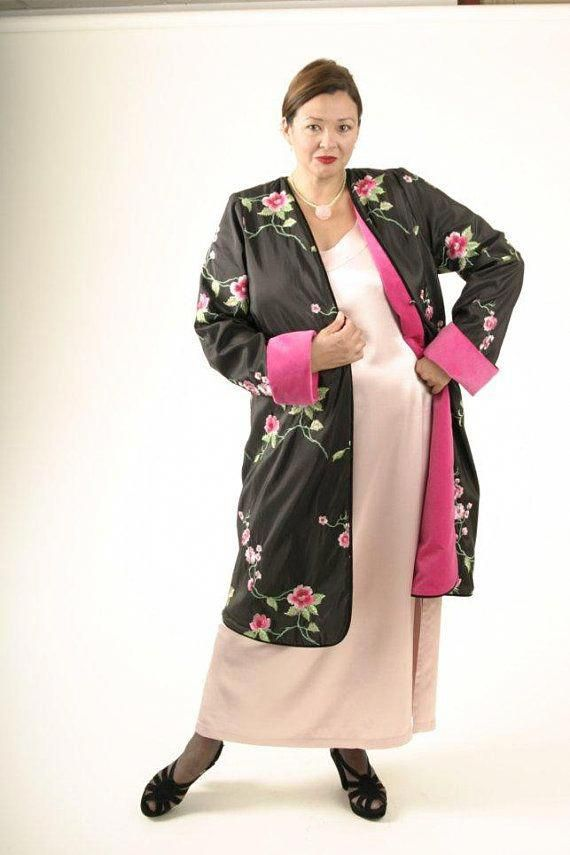 daaa0829a67df Plus Size Mother of Bride Dress Lined Jacket Hot Pink Green   plussizedressesformotherofthebride