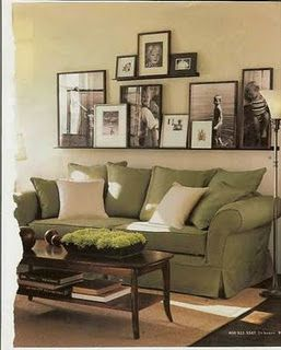 Livingroom: Ideas, Living Rooms, Green Couch, Photo Display, Frames, Shelves, Photo Wall, Pictures, House