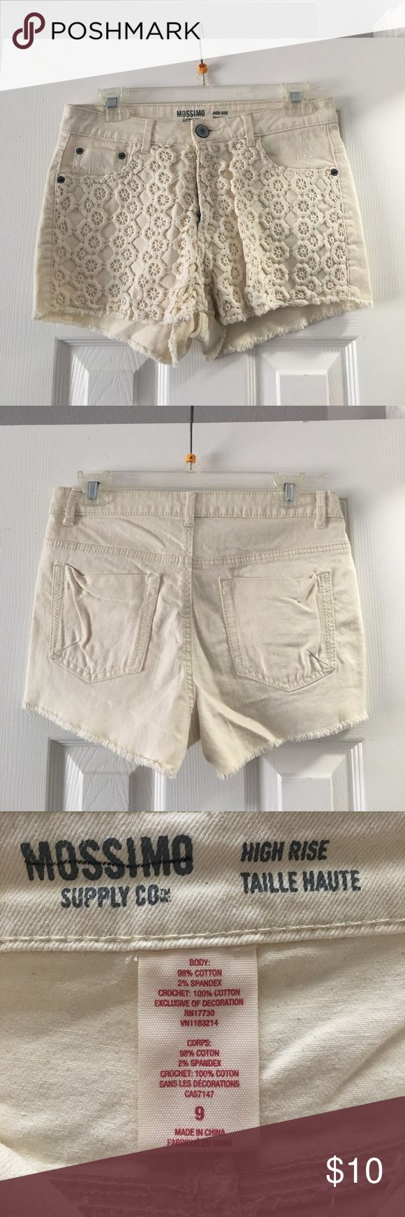 Mossing Supply Co by Target High Rose Lace Shorts Lace High waisted Cream shorts  size: 9  color: cream  condition: only worn once; no signs of wear or tear or damage  comes from a smoke free home Mossimo Supply Co. Shorts