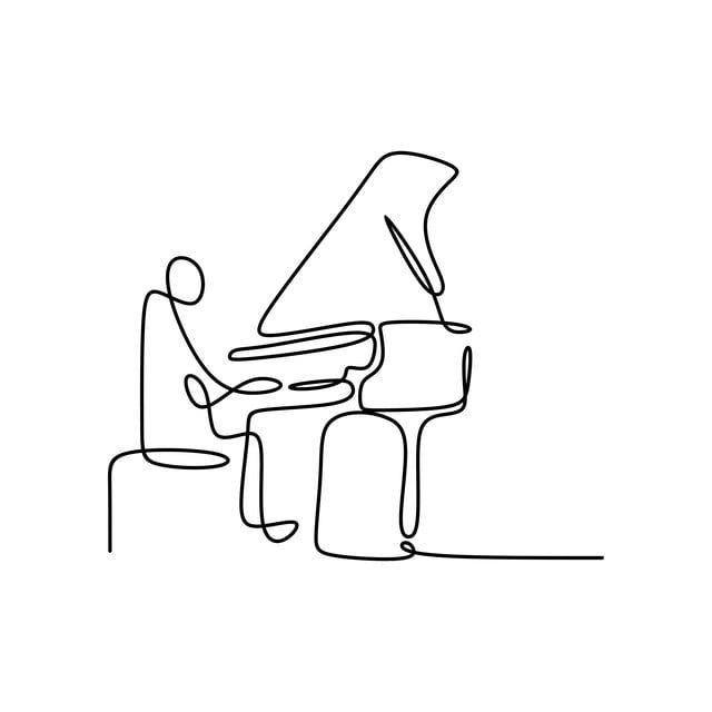 Continuous Drawing Line Playing The Piano, Outline, Piano ...