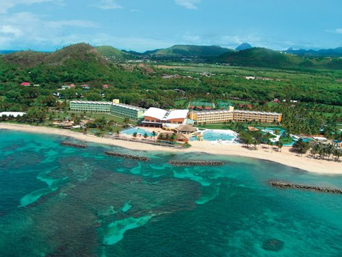 Coconut Bay Beach Resort & Spa, St Lucia: Aerial view of the resort along St. Lucia's southern coast.