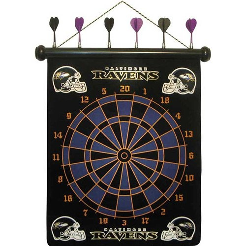 Baltimore Ravens Magnetic Darts: These magnetic dart boards offer all the fun and playability of regular darts with none of the damage to the wall surrounding the dart board! The game includes a magnetic hanging gameboard and 6 magnetic darts (3 of each 2 colors).  $29.99  http://calendars.com/Baltimore-Ravens/Baltimore-Ravens-Magnetic-Darts/prod1289090/?categoryId=cat00483=cat00483#