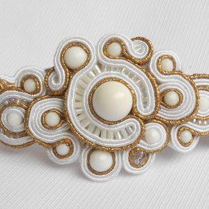 Soutache bracelet Ancient Rome with white agate