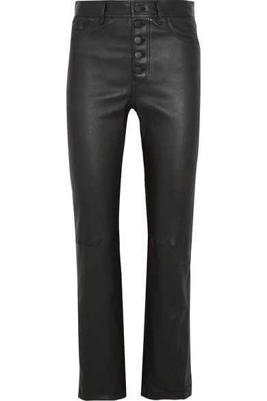 Black stretch-leather Button fastenings along front 100% leather (Lamb); lining: 97% cotton, 3% Lycra Dry clean Made in France