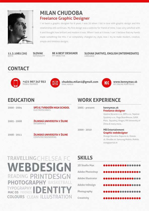 My CV by Milan Chudoba, via Behance