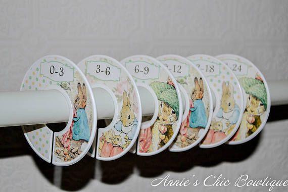Beatrix Potter Closet dividers, Peter Rabbit Nursery, Girl closet dividers, Baby Closet Dividers, Closet Organizers, Baby shower gift, C229