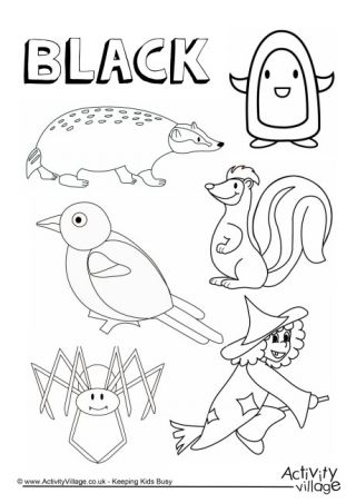 Black Things Colouring Page Color activities for