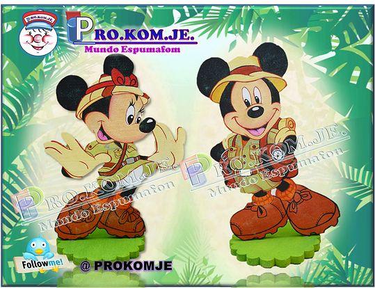 Aplique de telgopor Mickey y Minnie Safari tamaño 60cm. de alto