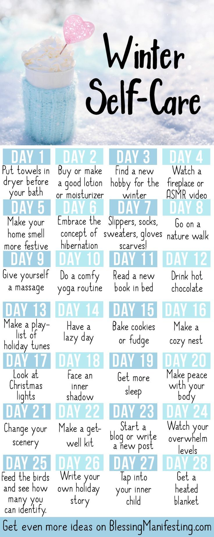 I love this, totally DL'd it my phone. *** Winter Self-care Calendar