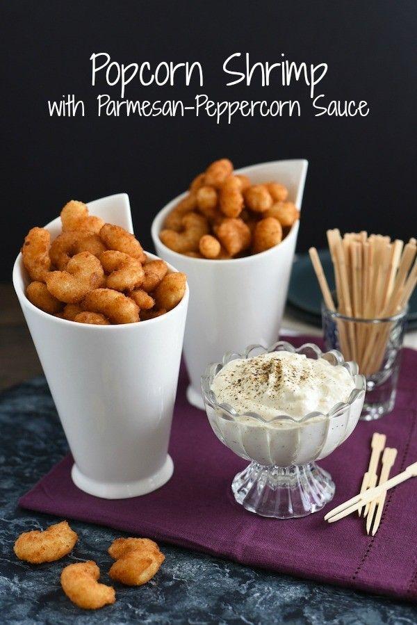 Popcorn Shrimp with Parmesan-Peppercorn Sauce - A quick fix appetizer that impresses!
