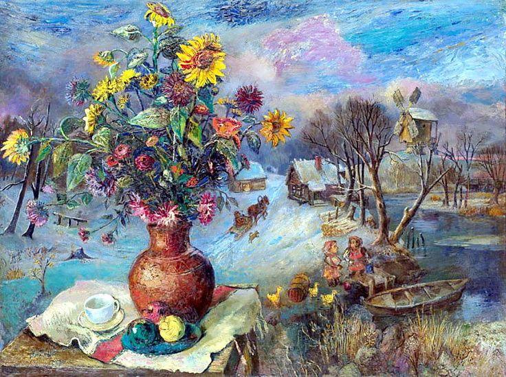 'Winter Still Life', Oil On Canvas by David Burliuk (1882-1967, Ukraine)