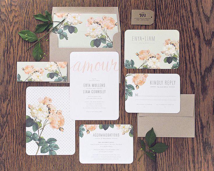 Amour Wedding Invitations by Rachel Marvin Creative