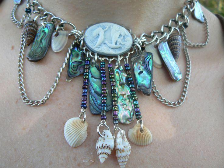 mermaid abalone necklace  mermaid siren cameo abalone seashells resort wear cruise wear beach wear high fashion gypsy boho by gildedingypsy on Etsy https://www.etsy.com/listing/150144008/mermaid-abalone-necklace-mermaid-siren