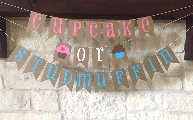 Gender Reveal Banner - Gender Reveal Decor - Cupcake or Stud Muffin Banner - Cupcake or Studmuffin Banner - Cupcake or Stud Muffin Decor by MagnoliaBloomBtq on Etsy https://www.etsy.com/listing/385034018/gender-reveal-banner-gender-reveal-decor