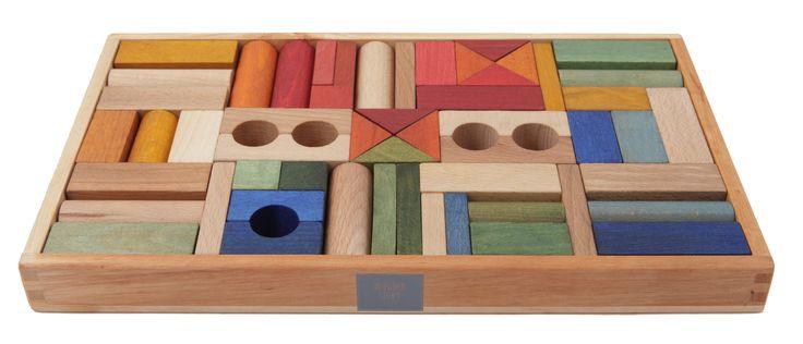 Bloques de colores en caja de madera - 54 piezas - Ticumiku Toys