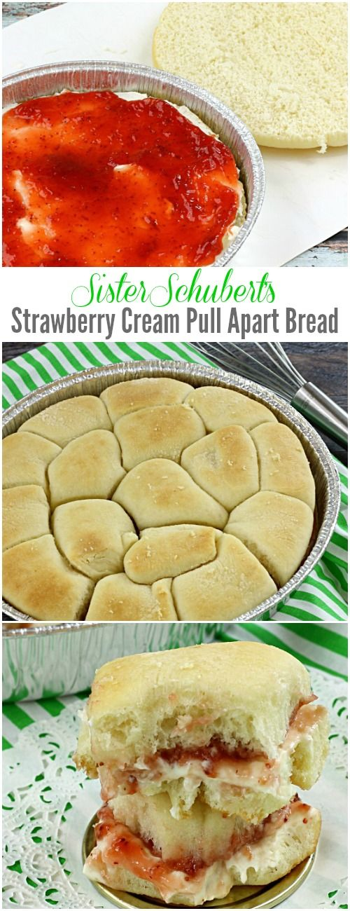 Sister Schubert Strawberry Cream Pull Apart Bread - short on time? try these semi-homemade easy recipe for breakfast sweet rolls