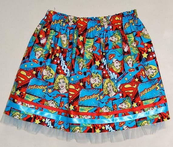 Supergirl print girl's skirt by DaleRaeDesigns on Etsy