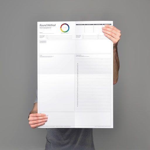 Monatsplaner - zum Ausdrucken und selbst beschreiben oder vorgedruckt im Format A2