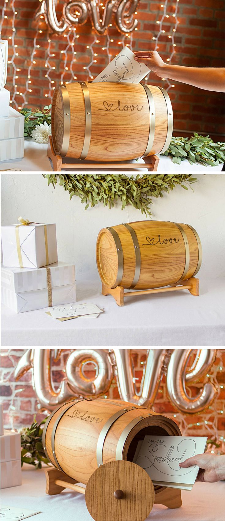 Wine barrel card holder. SO cute!! I love everything about this and how