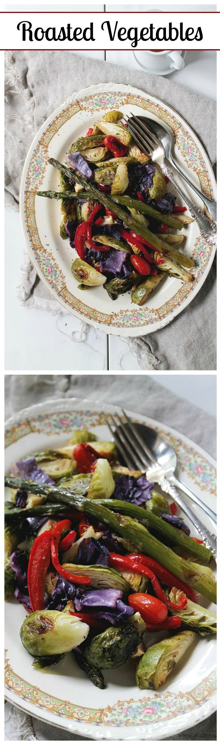 Roasted brussels sprouts, asparagus, red cabbage, peppers, and cherry tomatoes, topped with a delicious, homemade honey mustard dressing.