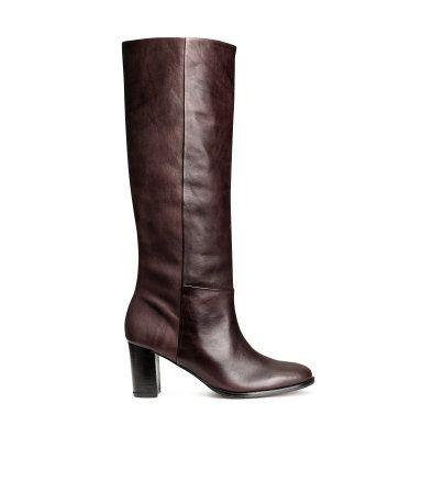 Kniehoge leren laarzen | Donkerbruin | Dames | H&M NL leather boots dark brown