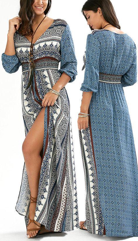 $18.80 Empire Waist Button Down Flowy Beach Bohemian Maxi Dress - Blue
