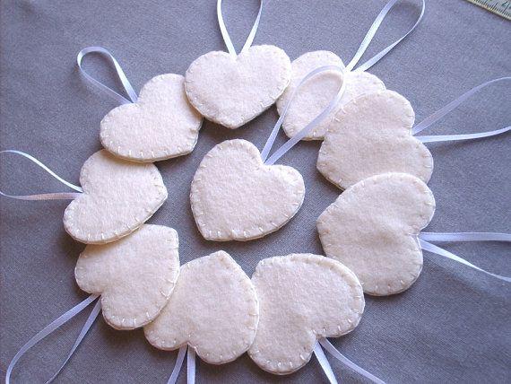 Set of 10 cream heart decorations ivory wedding decor by PeachPod, $20.00
