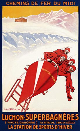 Winter Sports in Luchon-Superbagneres France http://www.vintagevenus.com.au/products/vintage_poster_print-slr137
