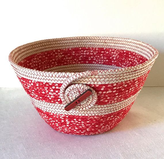 Coiled Fabric Bowl Basket Red and Cream by CentralFabrications