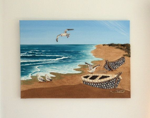 Acrylic Painting, Beach Artwork with Seashells and Sand, Boats & Seagulls in Seashell Mosaic on Sand, 3D Art Collage, Mosaic Art, Wall Decor, Home Decor #ArtworkwithSeashells #mosaiccollage #seashellmosaic #homedecor #walldecor #3D