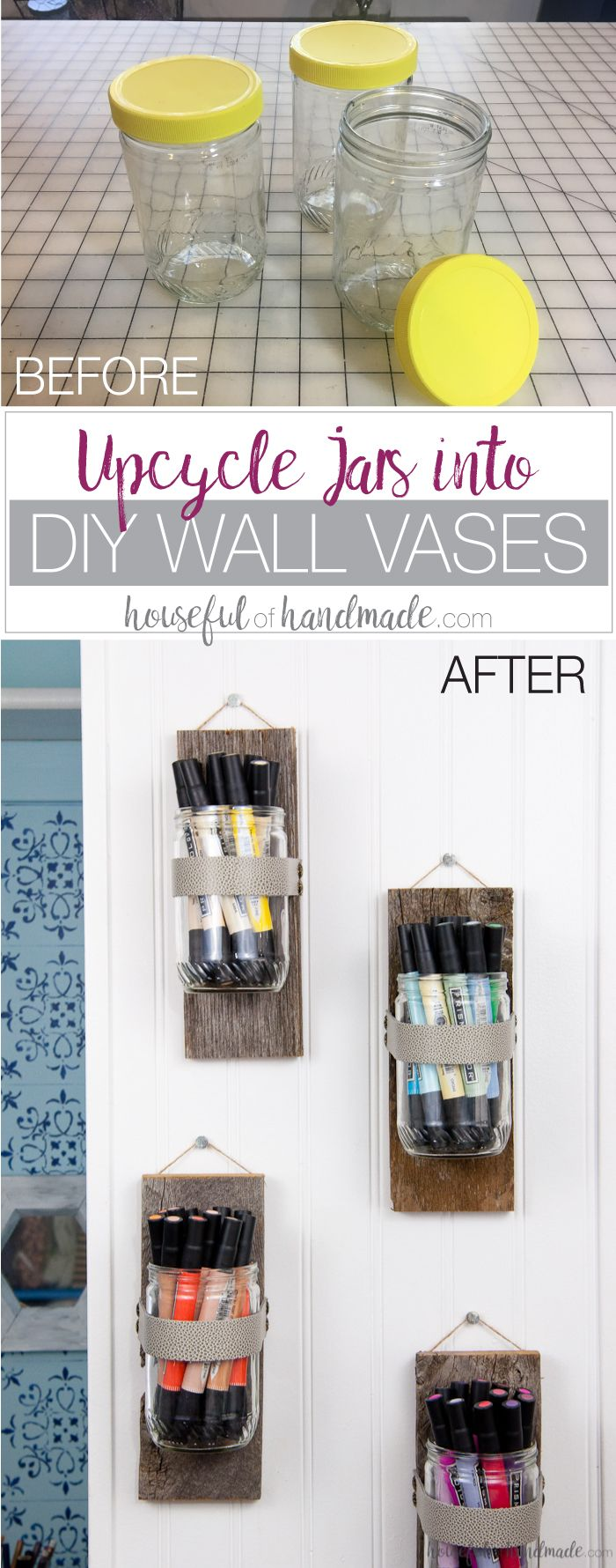 Upcycle old peanut butter jars into DIY wall vases for the perfect farmhouse decor. Use your wall vases to display art supplies, flowers or herbs. Tutorial from Housefulofhandmade.com | Farmhouse Wall Decor | Rustic Wall Vase | 10 minute Crafts | Reclaimed Wood | Upcycle Ideas | Farmhouse Decor Tutorial | Craft Supply Organization Ideas