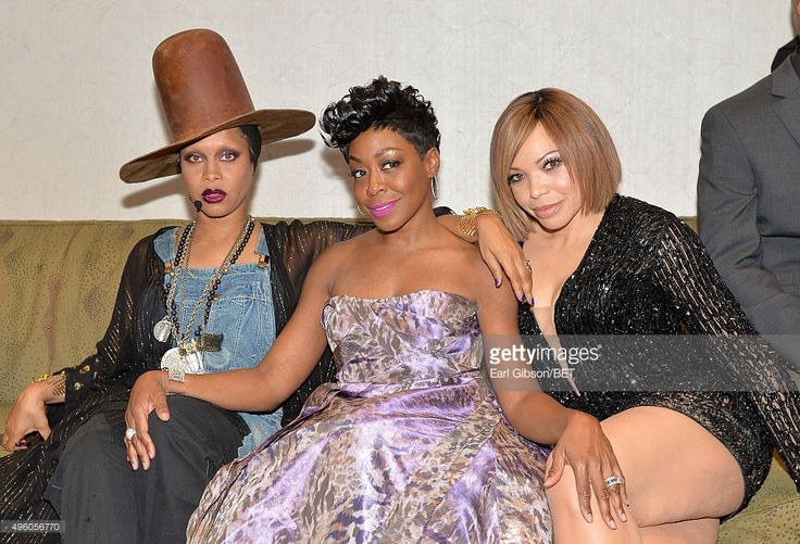 Host Erykah Badu, actress Tichina Arnold and actress Tisha Campbell-Martin attend the 2015 Soul Train Music Awards at the Orleans Arena on November 6, 2015 in Las Vegas, Nevada.