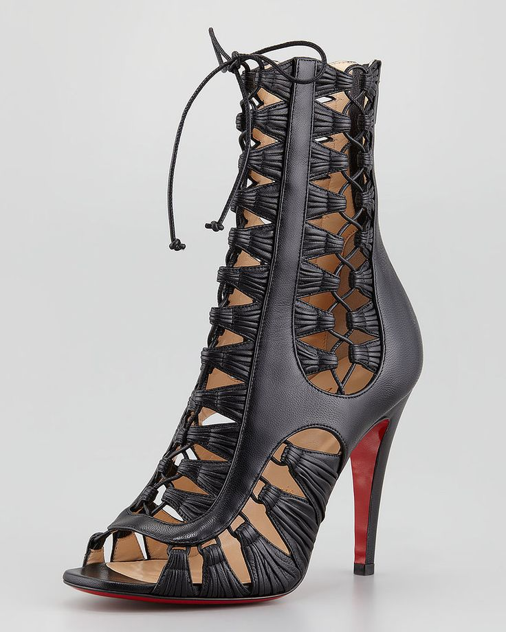 Christian Louboutin Azimut Caged Leather Booties | christian louboutin