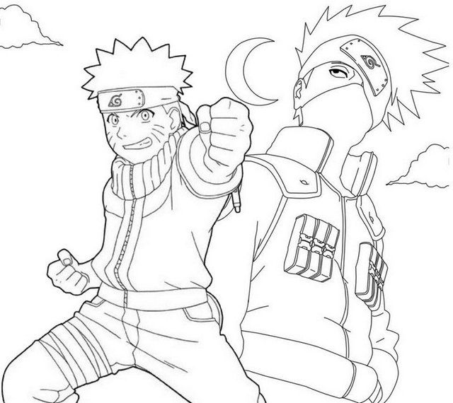 Kakashi Hatake And Naruto Coloring Page