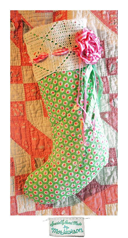 Vintage Christmas Stocking inspiration.  Crochet wide edging, but use different fabric.