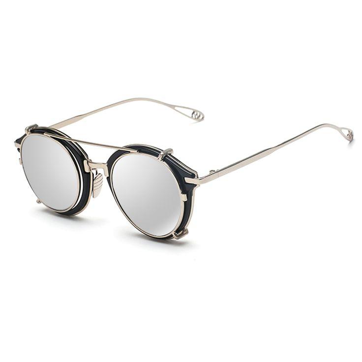 Victoria Lip2016 Hombres Mujeres Ronda de Moda gafas de Sol de Espejo Steampunk Steam punk Hip Hop Hippie rand Diseñador gafas de sol de La Vendimia