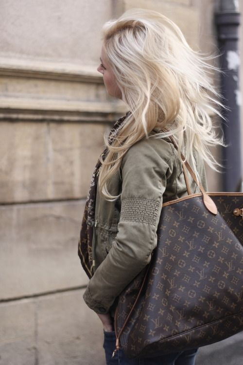 LV Neverfull. I have the GM and use it for everything - even Ivy's diaper bag. #noapologies