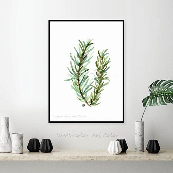Rosemary Watercolor Green Leaves Painting Print Wall Art Printable Art Watercolour Print Painting Art Wall Hanging Wall Art Decor Printable Art Fine Art Giclee Prints Hanging Wall Art