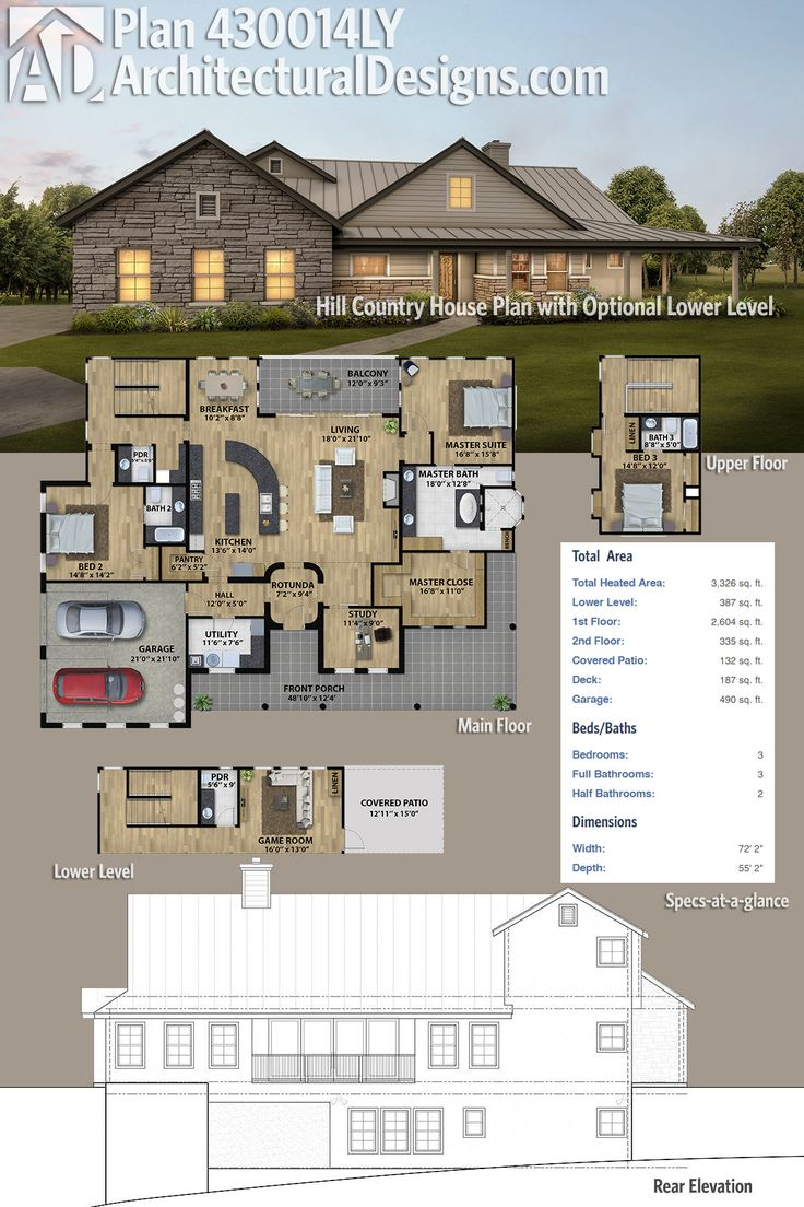 Plan 430014ly Hill Country House Plan With Optional Lower Level Country House Plan New House Plans Country House