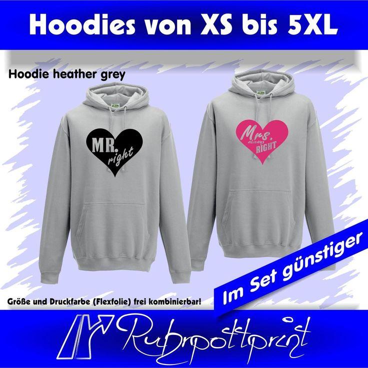 Hoodie Mr. right und/oder Mrs. always right grau-meliert in 29 Druckfarben(Flex) #hoodie #pulli #shirt #liebe #love #druck #individuell #print #deins #black #ruhrpottprint #warm #ruhrpott #stadt #Pullover  #oberhausen #duisburg #dortmund #mülheim #gelsenkirchen #essen #bottrop #gestalten