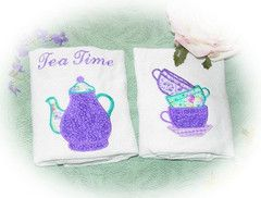 Purple Tea Time Embroidered and Appliqueed Tea Towels - Roses And Teacups