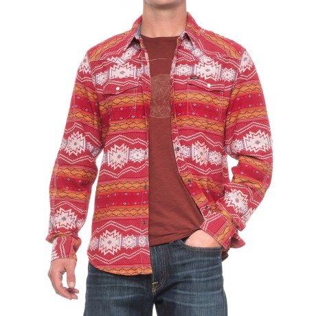 True Grit Tribal Shirt Jacket (For Men) in Vintage Red/Natural