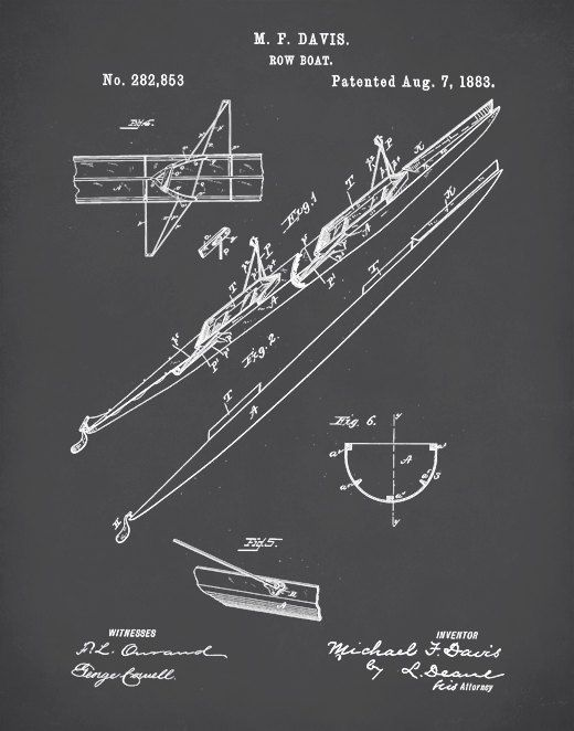 """Two Man Rowing Scull Poster, 2 Man Rowing Scull Patent, 2 Man Rowing Scull Print,  This patent poster is printed using quality archival inks on ultra premium mat archival paper with a smooth matte finish. A fantastic gift and a fabulous addition to any home!  Please choose between different colors and sizes.  Print sizes available include: 5 x 7 8 x 10 11 x 14 12"""" x 16""""  Background colors available include: Blackboard, Blueprint, Red, Slate Green, Sepia, White, Slate Blue, Moss Green & Ma..."""
