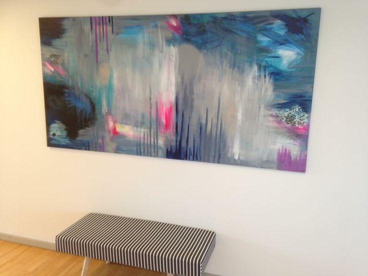 "Titel ""blue strips ""  Str. 1m x 2m  Art by Zabine Caroline Lunah Østergaard  https://m.facebook.com/DINPAUSE/ Instagram : @dinpause"