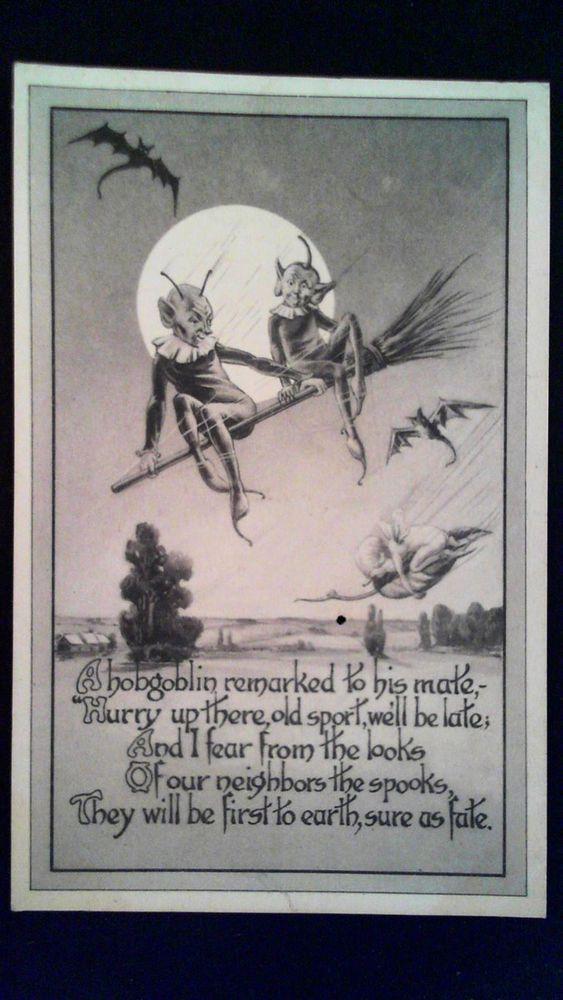 Gibson Halloween Postcard ~ HobGoblin / Hob Goblins on broom , bats 1913
