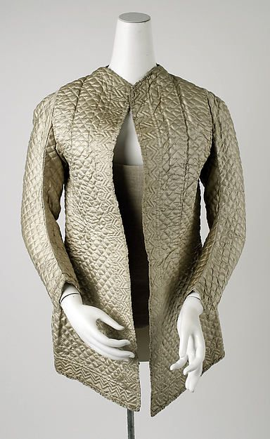 Bed jacket Date: 1700–1750 Culture: British Medium: silk Dimensions: Length at CB: 25 in. (63.5 cm) Credit Line: Isabel Shults Fund, 1986 Accession Number: 1986.179.1 See other pins for more views.