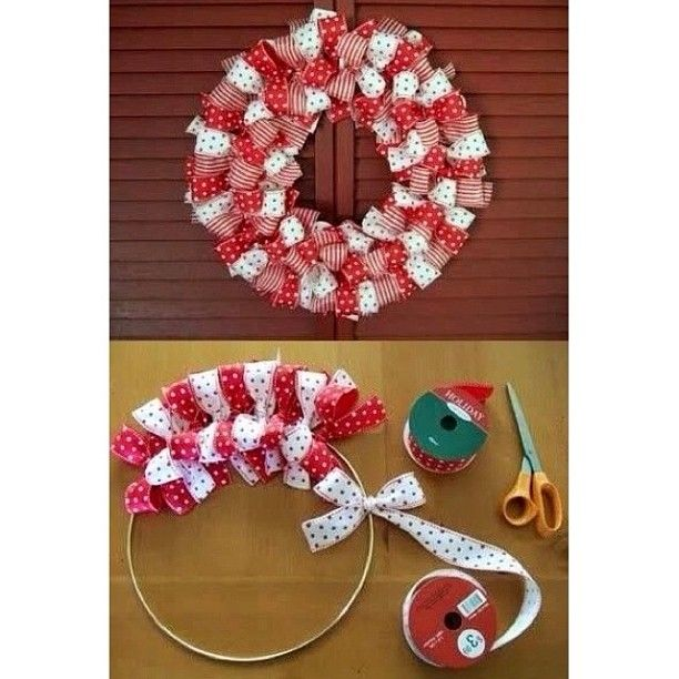 Ribbon Bow Wreath--just take a metal wire (of whatever size you want your wreath to be) and tie on bows around its rim!