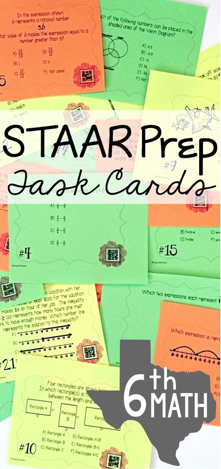 Love these Task Cards for STAAR Prep!  I used them last year and they were so engaging.   The QR codes made this the perfect self checking 6th grade math test prep activity.  I will definitely be using these every year to prepare my 6th grade math students for the STAAR test in Texas.  These are so much better than a boring old test prep worksheet.