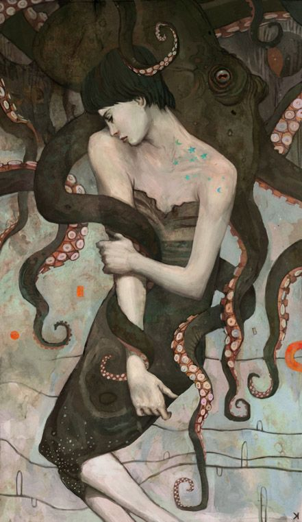 """""""Stay and I Will Love Thee"""" Ken Wong.  Reminds me a bit of Klimt.  I like the touches of bright colors amid the desaturated colors.  Cool octopus too."""